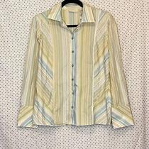 Liz Claiborne 6 Small Top Green Blue Striped Button Down Long Sleeve Non Iron Photo