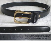 Liz Claiborne Belt Black Skinny Gold Leather Women's Medium M (30) - Mint Photo