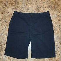 Liz Claiborne Black Flat Front Stretch Bermuda Shorts 12. Free Shipping Photo