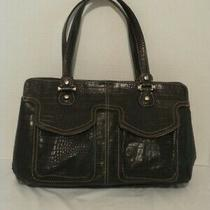Liz Claiborne Black Leather Croc Embossed Satchel Tote Purse Handbag Photo