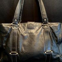 Liz Claiborne Black Leather Shoulder Bag Tote Purse With  'Horse Bits' Accent  Photo