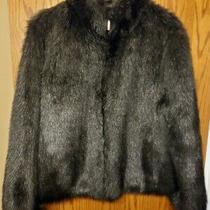 Liz Claiborne Black Luxurious Faux Fur Jacket Coat Size L Stand Up Collar Zip Photo