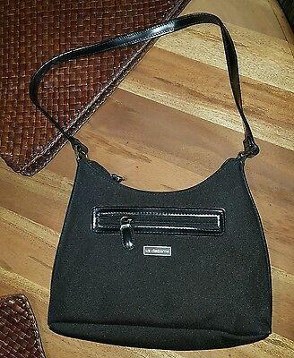 Liz Claiborne Black & Silver Small Zip Closure Handbag Purse Pocketbook Photo