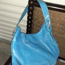 Liz Claiborne Blue Vegan Leather Croc Handbag Purse Shoulder Bag Tote Photo