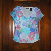 Liz Claiborne Bright Colors Mesh Knit Top Cap Sleeves Sz M Nwot 0414 Photo