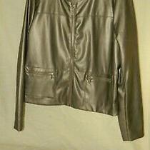 Liz Claiborne Bronze Gold Pu Leather Zip Jacket Size M Nwot Photo
