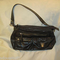 Liz Claiborne Brown Faux Leather Croc Embossed Purse Handbag Satchel Photo