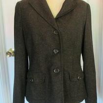 Liz Claiborne Brown Tweed Wool Silk Blend Lined Blazer Jacket Size 8 Photo