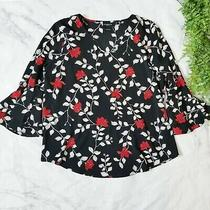 Liz Claiborne Career Black & Red Floral Print Bell Sleeve Work Blouse L 12 14 Photo