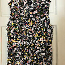 Liz Claiborne Career Tunic Top Sleeveless Black Multi Floral Front Tie Plus Size Photo