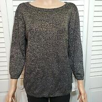Liz Claiborne Career Women's Sparkly Black Pullover Blouse Size M Photo