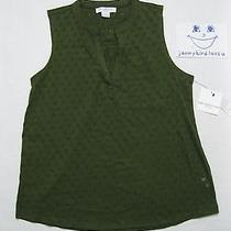 Liz Claiborne Chic Petite Large Sleeveless Olive Green Four Squares Tuscan Top Photo