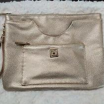 Liz Claiborne Clutch Metallic Gold With Phone Charger in Front Pocket Photo