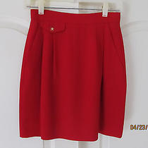 Liz Claiborne Collection Red Pleated Lined Triacetate Above Knee Skirt Women 4 Photo