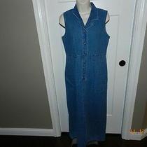 Liz Claiborne Emma James Sz 6 Blue Denim Collar Dress Sleeveless Linen Blend Photo