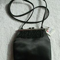 Liz Claiborne Evening Special Black Beads Handbag Silver Hardware New Photo