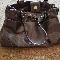 Liz Claiborne Faux Leather Large Handbag Tote Bag Purse Brown W/ Gold Buckles Photo