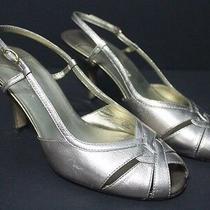 Liz Claiborne Flex Size 8.5m Baronet Peep Toe Slingback Kitten Heels Shoes Vguc Photo