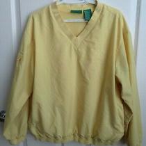 Liz Claiborne Golf Pullover Sz L Yellow v Neck Jacket Windbreaker Womens  Photo