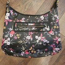 Liz Claiborne Handbag Purse Shoulder Bag Black Floral Medium Size Photo