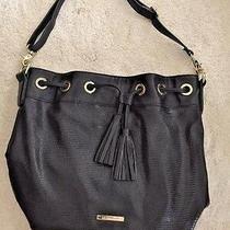 Liz Claiborne Hobo Purse Handbag Shoulder Bag Tassel Black & Gold  26 X 11 X 14 Photo