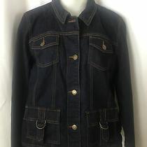 Liz Claiborne Jacket Size Large Blue Denim Cotton Blend Jeans Jacket Photo
