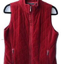 Liz Claiborne Ladies Med Velvet Quilted Red Sleeveless Vest Full Zip Zip Pckts Photo