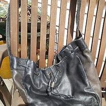 Liz Claiborne Large Black Leather Hobo Bucket  Slouch Tote Purse Bag Boho Photo