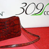 Liz Claiborne Leather Co Dark Brown Croc Embossed Cross Body Handbag Purse Photo