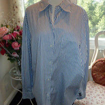Liz Claiborne Liz Sport Blue & White Striped Blouse Size L Photo