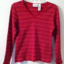 Liz Claiborne Lizwear Long Sleeve Striped Sweater Size Small Bright Colors Nice Photo