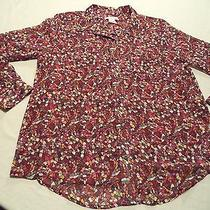 Liz Claiborne Misses Large Richly Ruby Stain Glass Lngslv Button Down Shirt New  Photo