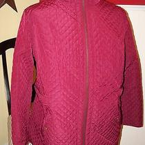 Liz Claiborne N Yfleece Lined Quilted Barn Jacket 1x Merlot Photo