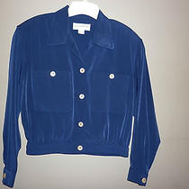 Liz Claiborne Navy Blue Polyester Jacket With Mother of Pearl Buttons  Size 8 Photo
