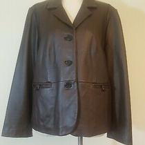 Liz Claiborne New York Soft Brown Leather Button Up Blazer Jacket Size Large Photo
