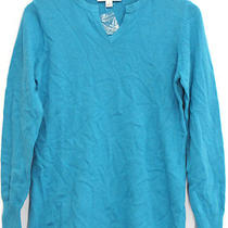 Liz Claiborne New York Sz Xs Cotton Cashmere Sweater Horizon Blue New Nwot Photo