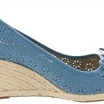 Liz Claiborne Ny Open Toe Perforated Wedges Beach Blue 8m  A263705 Photo