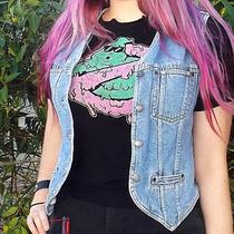 Liz Claiborne Petite S Grunge Jean Vest Unisex   Photo