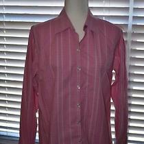 Liz Claiborne Pink White Button Down Blouse French Cuff Size 10 Photo