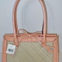 Liz Claiborne Purse Small Bag Straw & Croc Print Peach Orange Summer Cute  Nwt Photo