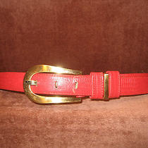 Liz Claiborne Red Leather Reptile Look Gold Tone Buckle Belt Large 39