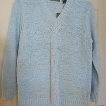 Liz Claiborne Reverse Stockinette Tape Yarn Cable Pale Blue Sweater Nwt. Xl Photo
