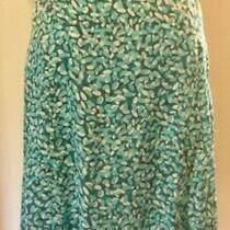 Liz Claiborne Silk Skirt Aqua Grey Pattern Sz 4 Photo