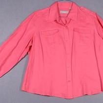 Liz Claiborne Size 1x 14w 16w Hot Pink Linen Shirt Top Blouse Photo