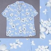 Liz Claiborne Size 4 S 6 Blue White Gray Floral Shirt Top Blouse Photo