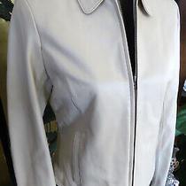 Liz Claiborne Soft Light Tan Beige Leather Zip Jacket Womens Size 6 Photo