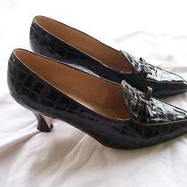Liz Claiborne Spain Croc Look Leather Heels Pumps 7.5n Photo