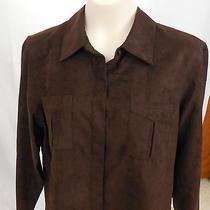 Liz Claiborne Sport Brown Button Down Shirt Size L Micro Suede Soft Euc Photo