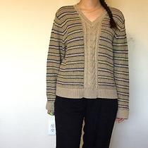 Liz Claiborne Stripe Chunky Knit Silver Thread Comfy Jumper v-Neck Sweater Med Photo
