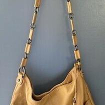 Liz Claiborne  Tan Leather Shoulder Hobo Tote Satchel Purse Bag Photo